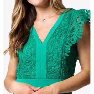 NWT Adelyn Rae Green Lace Romper - Size S